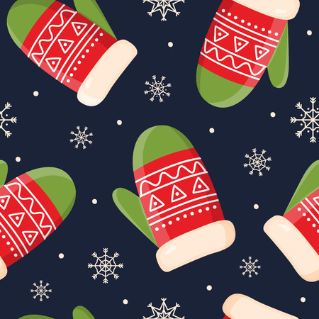 Decorative holiday symbols: mittens and snowflakes on dark background. Christmas decorations for fabrics and decor. Seamless pattern for winter, new year theme. Seasonal vector illustration. Stock fotó - 113022189