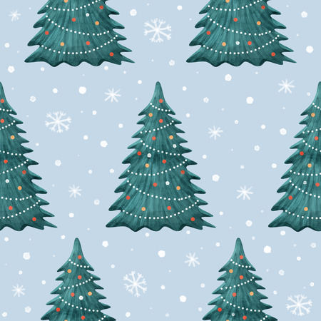 Decorated with toys Christmas tree - a symbol of the winter fete. Merry Christmas and Happy New Year. Seamless pattern for Christmas fabrics and decor. Festive seasonal illustration.