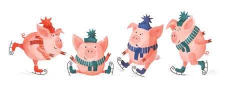 Funny cartoon pigs in colorful knitted hats and scarves. Set of skating pigs in various poses on a white background. Festive seasonal illustration. Stock fotó