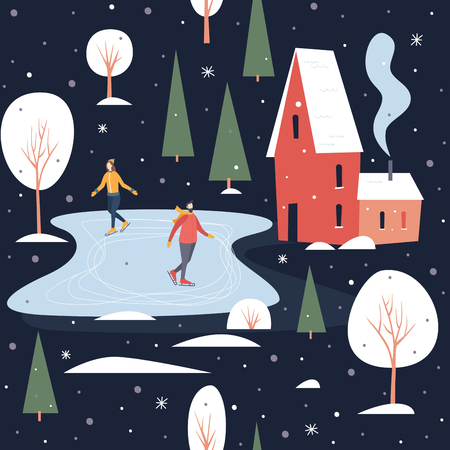 Seamless pattern with people skating. Skaters on a skating rink in a small town covered with snow. Winter activities and sports. Happy winter holidays. Vector flat cartoon illustration. Illusztráció