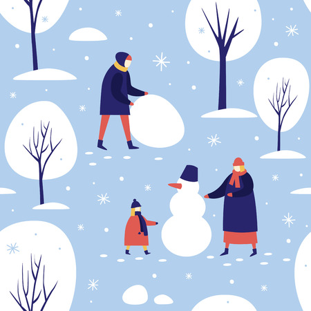 Winter walk in the snow-covered park. People make a snowman in the forest. Seamless pattern for winter, new year and christmas theme. Happy winter holidays. Vector colorful seasonal illustration. Illusztráció