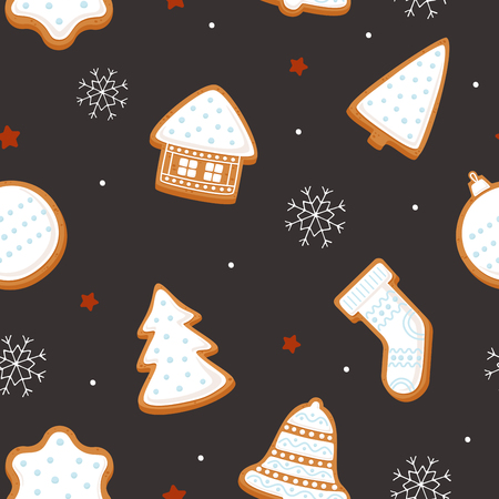 Gingerbread for Christmas fabrics and decor. Seamless pattern for winter, new year and christmas theme. Set of decorative holiday symbols. Seasonal vector illustration.