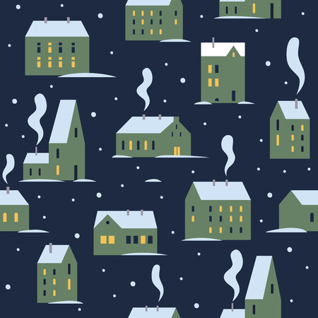 Urban evening winter landscape with various buildings. Little cute town in snow. Winter houses for Christmas fabrics and decor. Seamless patterns of northern city. Vector colorful illustration.