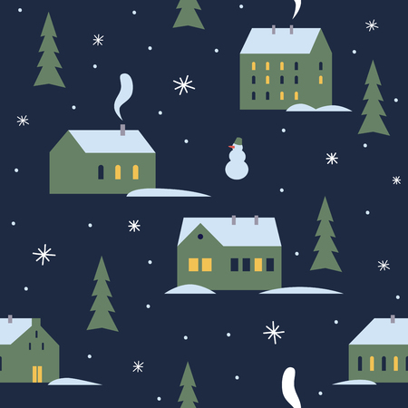 Urban winter evening landscape with green trees. Little cute town in snow. Seamless pattern for winter, new year and christmas theme. Vector illustration.