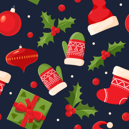 Decorative holiday symbols: holly, mittens, gifts, felt boots. Christmas decorations for Christmas fabrics and decor. Seamless pattern for winter, new year theme. Seasonal vector illustration.