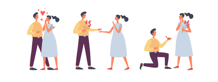Valentines Day. Happy couple in love. A young man gives a girl a ring. Vector flat illustration. Illusztráció