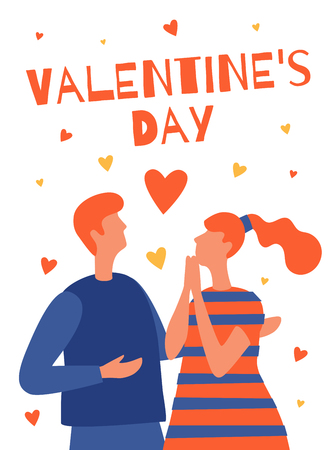 Valentines day greeting card design. The holiday woman. Vector flat illustration isolated on white background. Illusztráció