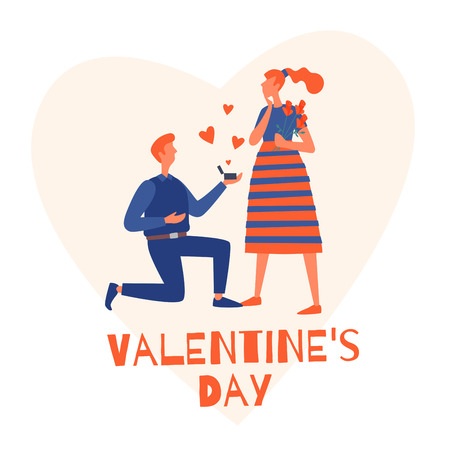 Valentines Day. A young man gives a pink heart to his girlfriend. Vector flat illustration.
