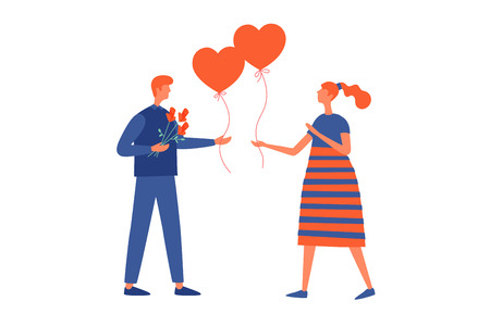Valentines Day, February 14th. Happy young lovers give each other their balloons. Vector flat illustration isolated on white background. Illusztráció