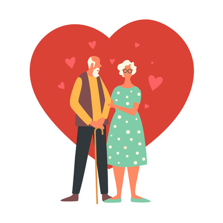 Happy Valentines Day. Holiday of all lovers. An old man. Vector flat illustration isolated on white background. Illusztráció
