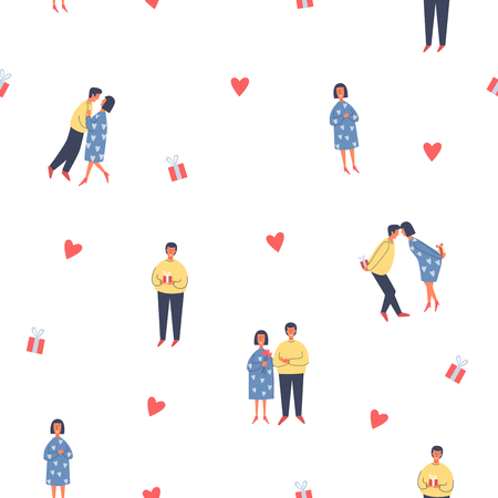 Valentine`s Day. Lovers of happy young people hugging on a white background. Vector seamless illustration.