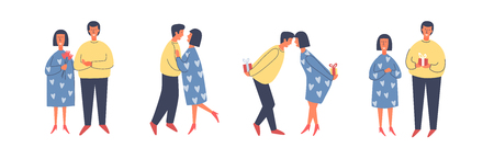 Valentines Day. Happy couple in love hugging or dancing. Young people give each other gifts, surprises. Vector flat illustration.
