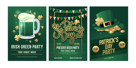 St.Patricks Day. Set of festive posters on white background. Leprikon hat and gold coins, pennant garland. Vector illustration.