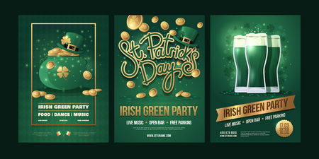 Irish holiday set on green background. Green pot and leprechaun hat with gold coins, the inscription: St. Patrick`s Day, three beer glasses. Vector illustration. Illusztráció