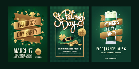 St.Patrick`s Day. Irish holiday on green background. Gold inscription ribbons, clover leaves, Leprechaun`s hat with gold coins, glass of beer. Vector illustration.