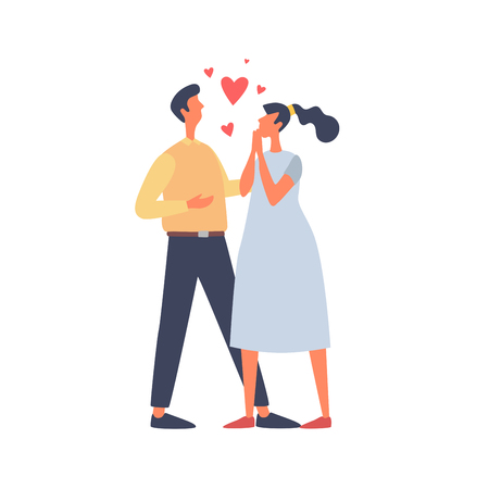 Young couple in love and red hearts. A woman on the Valentine`s Day. Vector flat illustration on white background.