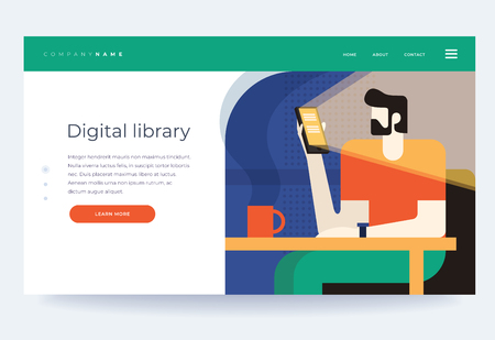 Concept digital and online libraries. Ebooks. Phone app in the smartphone phone app bookstore. Homepage. Header for website. Vector flat illustration. Illusztráció