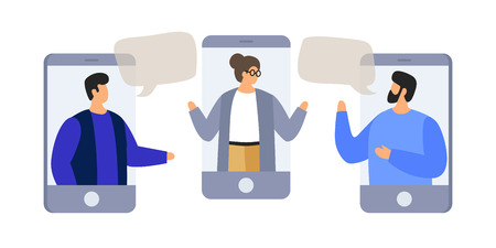 Chatting with colleagues using mobile phones. Discuss news, social networks. Colleagues are negotiating. People with speech bubbles dialogs. Vector flat illustration. Illusztráció