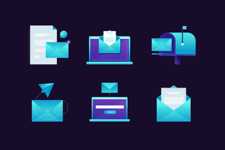 Set of icons on the subject of email. The concept of communication on the Internet. Modern email interface, mail envelopes and mailboxes on a blue background. Vector illustration.
