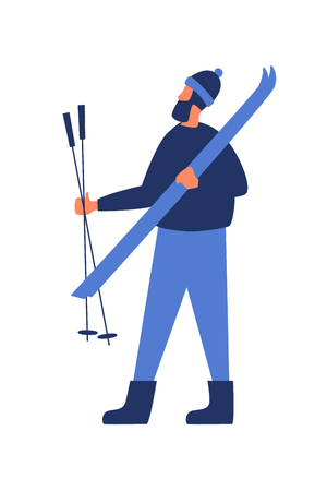 Image of a skier in his hands. Male cartoon character on a white isolated background. Vector illustration in flat style. Illusztráció