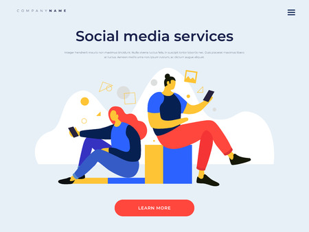 Landing page template. Cartoon man and woman looking in mobile gadgets. Communication in social networks. Concept of communication and receiving news on the Internet. Vector flat illustration.