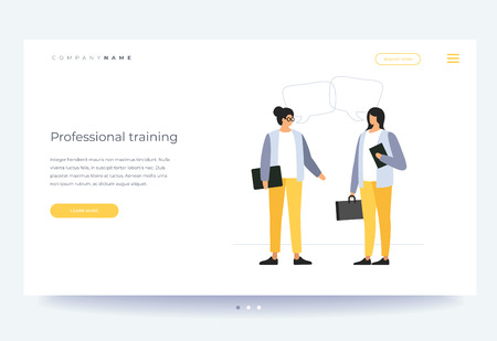 Landing page template. Vocational training and education. Concept of learning, business training and advanced training. Young cartoon woman conducts learning for employees. Vector flat illustration. Foto de archivo - 118979714