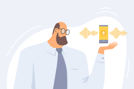 Concept of voice recognition. Person gives voice signal to smartphone. Intellectual technology sound symbol. Phone with voice assistance. Vector flat illustration.