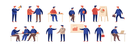 Large collection of cartoon businessmen in different situations. Concept of communication, business training and advanced training. Teamwork. Protection of projects. Vector flat illustration.