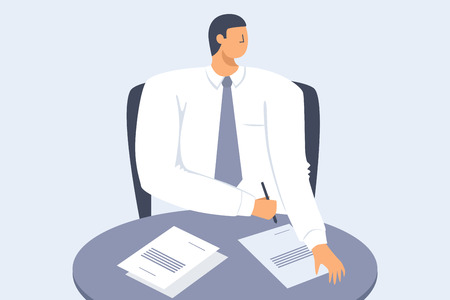 A young businessman. The concept of career growth. Vector flat illustration.