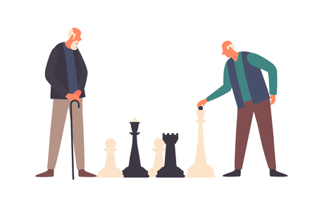 The concept of active life in the old age. Old men play big chess. Elderly activity, elderly care, comfort and communication in old age. Active retirement. Vector flat illustration. Illusztráció