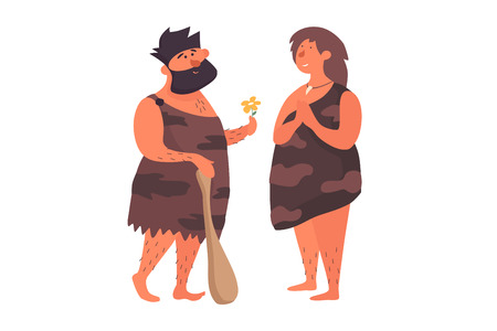 Gives a girl a love to his primitive girlfriend. Prehistoric people dressed in skins on a white isolated background. The life of the Neanderthals and cavemen. Vector flat illustration.
