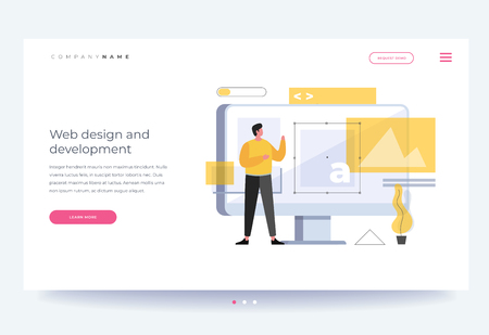 The title for website. Banner. Web design concept and website development. A young cartoon man stands in front of a computer monitor. The process of creating web pages. Vector flat illustration. Illusztráció