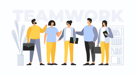 Concept teamwork. Meeting business people. The team of young businessmen discusses discussing new projects. Solution of business problems. Vector flat illustration. Illusztráció