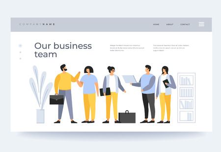 Concept teamwork. Meeting business people. The team of young businessmen discusses discussing new projects in the office. Solution of business problems. Vector flat illustration.