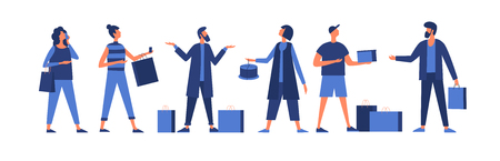 Set of various clothes on white background. A group of men and women cartoon characters. Vector illustration in flat style.