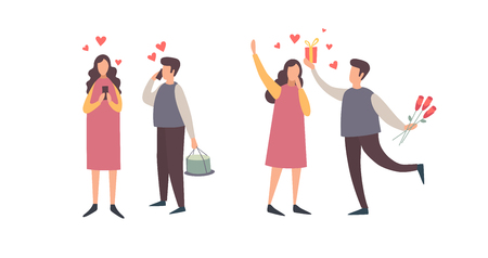 Happy Valentines Day. A set of romantic characters in various poses. Happy couple in love making phone calls. A young man gives a gift to his girlfriend. Vector flat illustration.