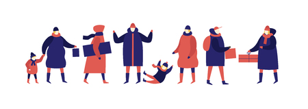 Large group of people dressed in outerwear isolated on light background. Christmas shopping, walk with children. Illustration of male and female flat characters. Illusztráció