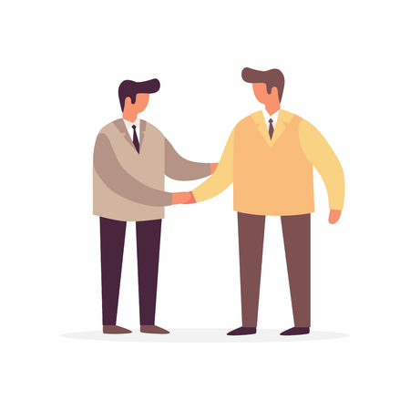 Young men shaking hands on white background. The concept of communication. Meeting business people. Vector flat illustration.