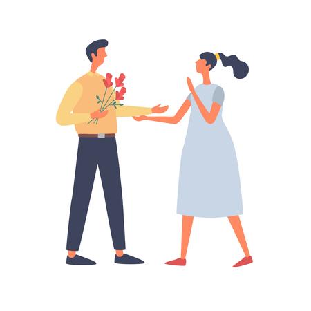 Valentinstag. Verliebte junge Leute kennenlernen. Ein junger Mann schenkt seiner Freundin Rosen. Flache Illustration des Vektors lokalisiert auf weißem Hintergrund.