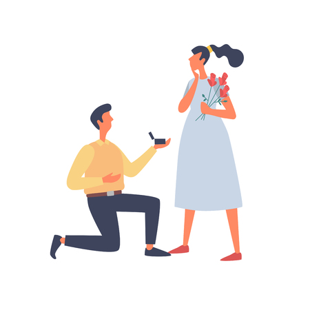 A young man gives a ring to his girlfriend on Valentines Day. Vector flat illustration isolated on white background.