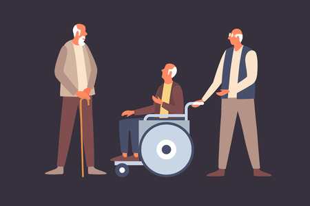 Concept of comfortable life in old age. Retired elderly senior couple couple are talking. Wheelchair with disabled old man. Helping the elderly and sick people. Vector flat illustration. Ilustração