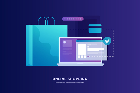 Concept of Internet payments, mobile purchases. Online shopping. Image on blue background. Vector illustration.