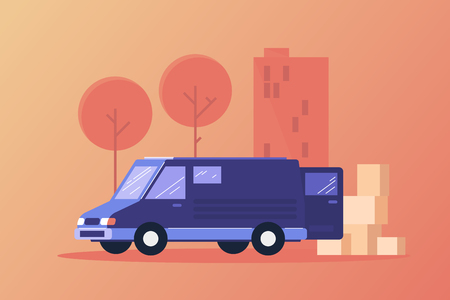 Image of car with unloaded goods. Provision of services and logistics. Transport services for delivery of goods. Vector flat illustration.