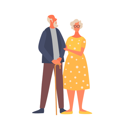 Elderly married couple. An old woman is holding an old mans arm. Elderly activity, elderly care, comfort and communication in old age. Vector flat illustration.