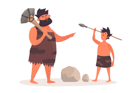 A primitive man with a homemade ax teaches a boy to throw a spear. Prehistoric people dressed in pelts on a white isolated background. The life of the Neanderthals and cavemen. Vector flat illustration.