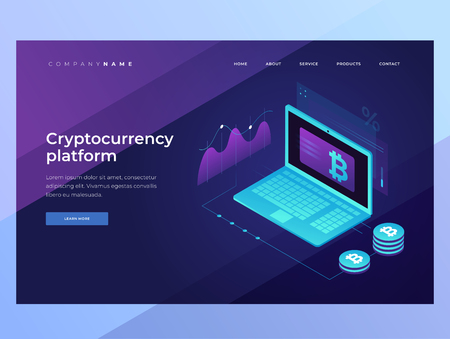 Cryptocurrency and Blockchain concept. Mining bitcoins. Digital money market, investment, finance and trading. Landing Page. 3D isometric design. Vector illustration for web banners.