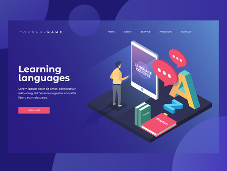 Concept on-line learning and language of foreign languages. Student stands in gadget near textbooks at English, French and Latin letters. 3d isometric design. Landing Page.