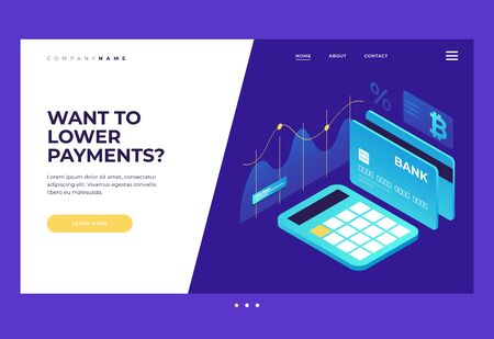 Homepage. Title for the website. Payment by crypto currency. Growth and income calculation. An isometric image of calculator, bank card and bitcoin sign on blue background. Vector illustration for web page. Illusztráció