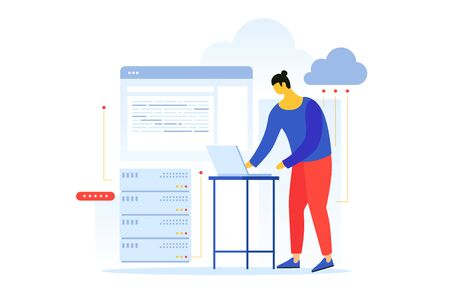 Cartoon web engineer at work. Web developer is working on laptop. Concept of programming. Process of creating web pages. Vector flat illustration.
