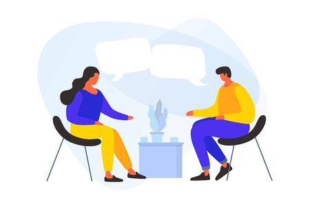Cartoon young people discuss the strategy of doing business, a joint project. The concept of communication, discussion of news. Meeting of business people. Vector flat illustration.